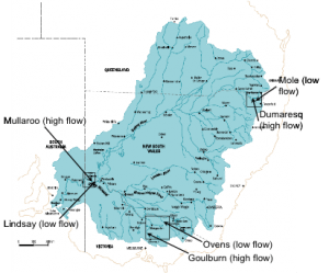 Map of the Murray-Darling Basin, showing the three study regions and rivers. Map courtesy of the Murray Darling Basin Commission
