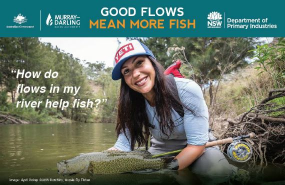 Image is of April Vokey with Murray Cod and copyright Josh Hutchins, Aussie Fly Fisher