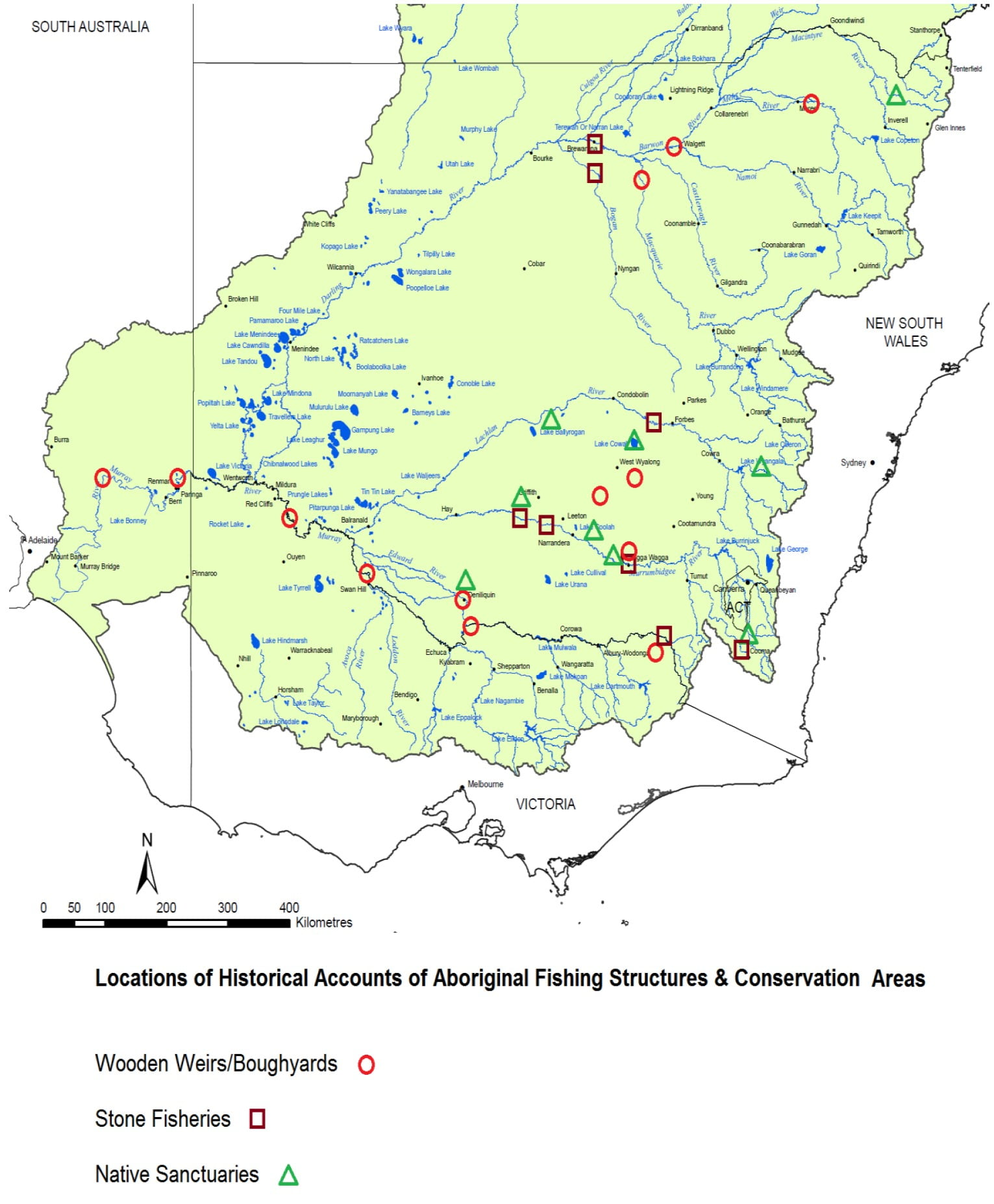 Locations of historical accounts of Aboriginal fishing structures and conservation areas
